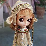 Куклы и игрушки handmade. Livemaster - original item Clothes for Blythe. Beige set with ears. (jacket and cap). Handmade.