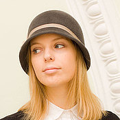 Аксессуары handmade. Livemaster - original item The Cloche hat, gray bow. Handmade.