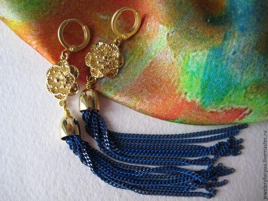 Серьги ручной работы. Ярмарка Мастеров - ручная работа. Купить Серьги Синее Золото, серьги цепочки. Handmade. Тёмно-синий