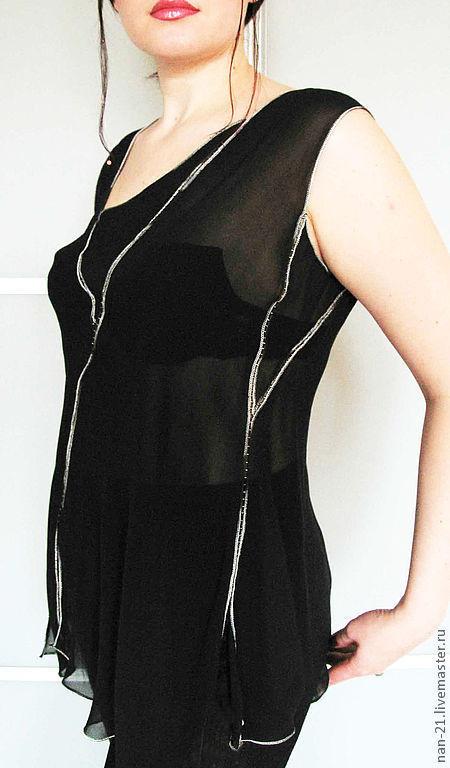 """Блузки ручной работы. Ярмарка Мастеров - ручная работа. Купить Блуза-топ """"Ночной дождь"""". Авторская одежда NAN. Handmade."""
