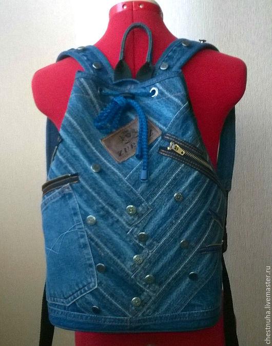 """Рюкзаки ручной работы. Ярмарка Мастеров - ручная работа. Купить Джинсовый рюкзак  торба """"Old school"""". Handmade. Тёмно-синий"""