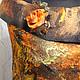 Болеро, шраг ручной работы. Шаль-болеро  оранжево-корич из шелка и шерсти .ЛИСТОПАД.Мокрое валяние. AS  Алла Свириденко. Ярмарка Мастеров.