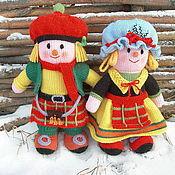 Куклы и игрушки ручной работы. Ярмарка Мастеров - ручная работа Вязаные куклы из шерсти Он и Она. Handmade.