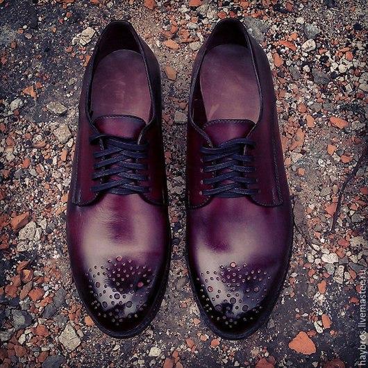 Обувь ручной работы. Ярмарка Мастеров - ручная работа. Купить мужские туфли. Handmade. Бордовый, кожа, мужские туфли, туфли