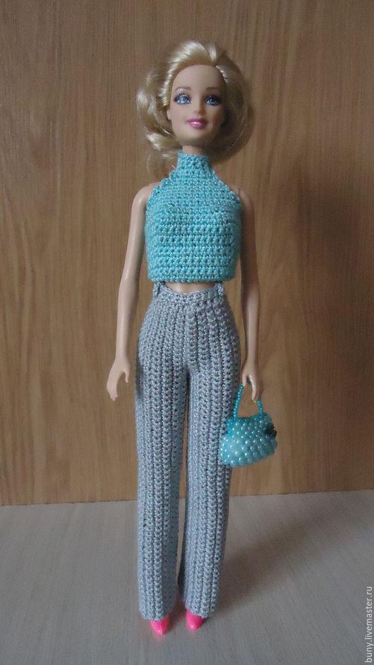 Одежда для кукол ручной работы. Ярмарка Мастеров - ручная работа. Купить Серые прямые брюки с высоким поясом. Handmade. Серый