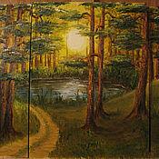Картины и панно ручной работы. Ярмарка Мастеров - ручная работа Картина Пейзаж Солнечный день в сосновом лесу(модульная). Handmade.