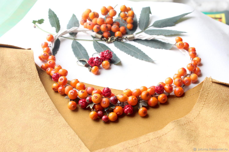 Necklace and bracelet jewelry set 'Rowan bouquet', Jewelry Sets, Vladivostok,  Фото №1