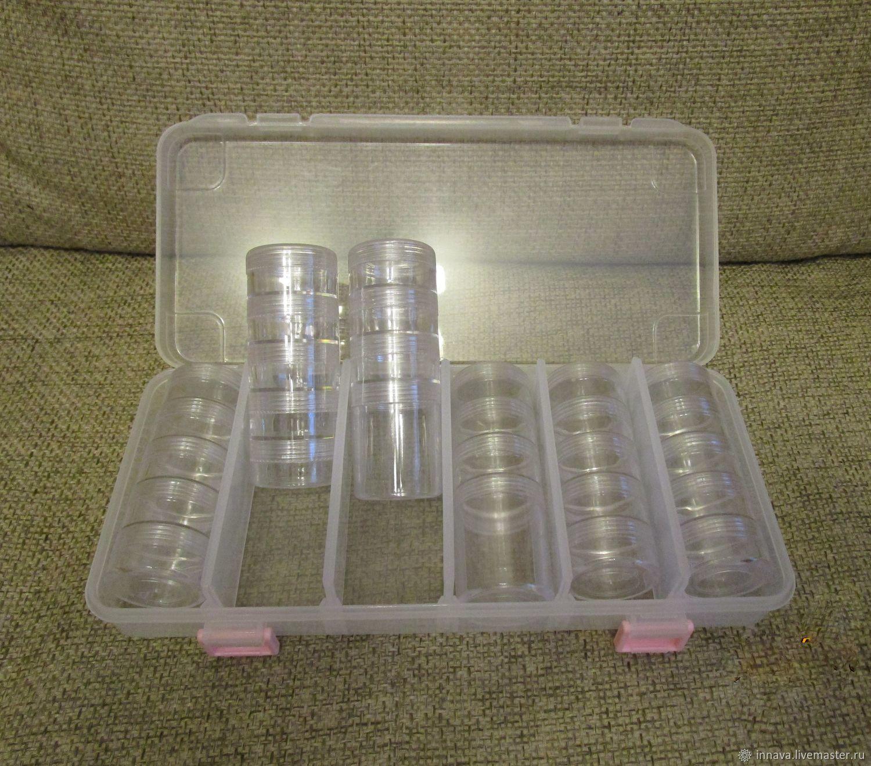 Набор баночек для бисера в коробке, Органайзеры для рукоделия, Москва, Фото №1