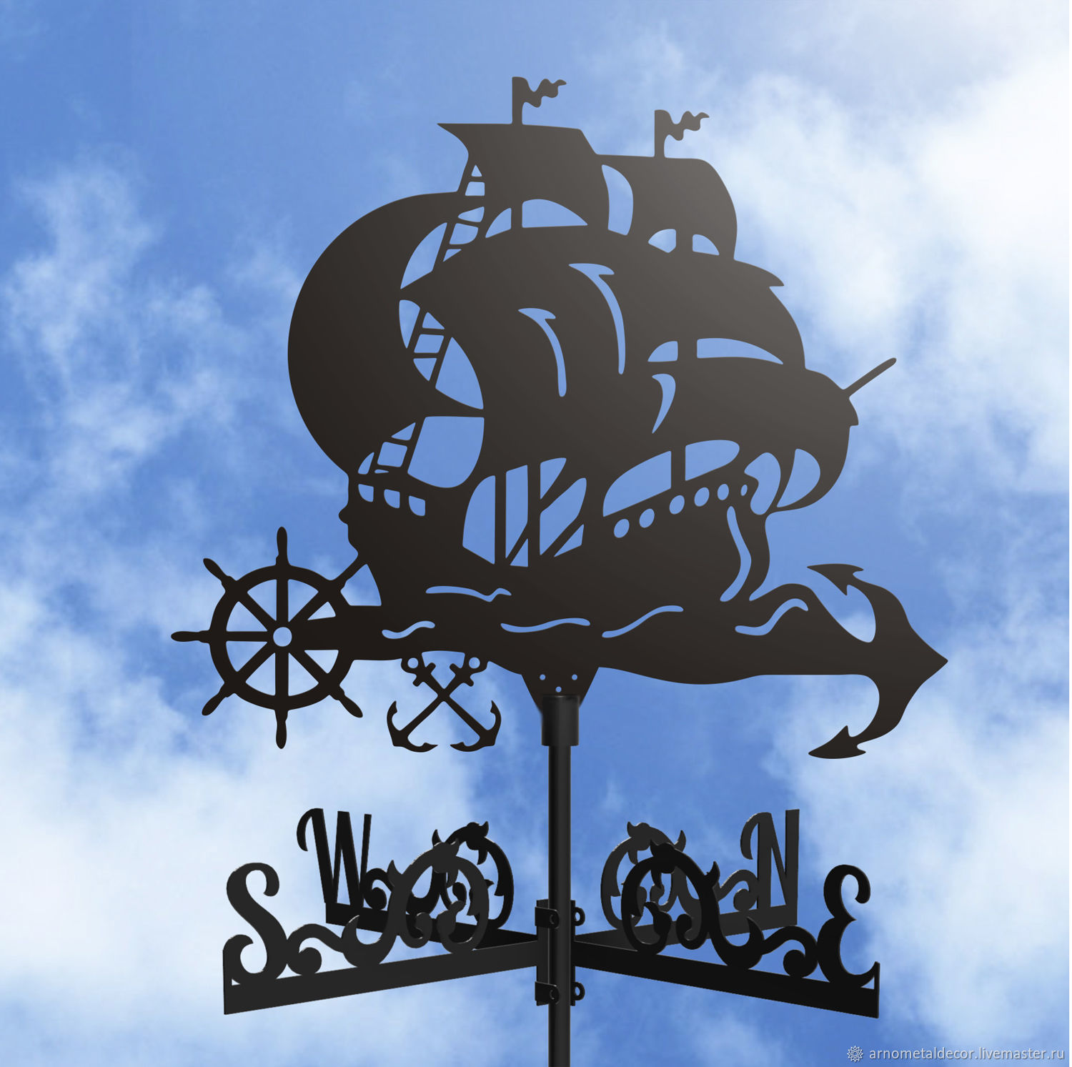 Weather vane on the roof ' Ship with anchors', Vane, Ivanovo,  Фото №1