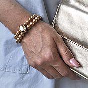 Украшения ручной работы. Ярмарка Мастеров - ручная работа Браслет из бусин Swarovski с овальным кристаллом 18х13 Gold. Handmade.