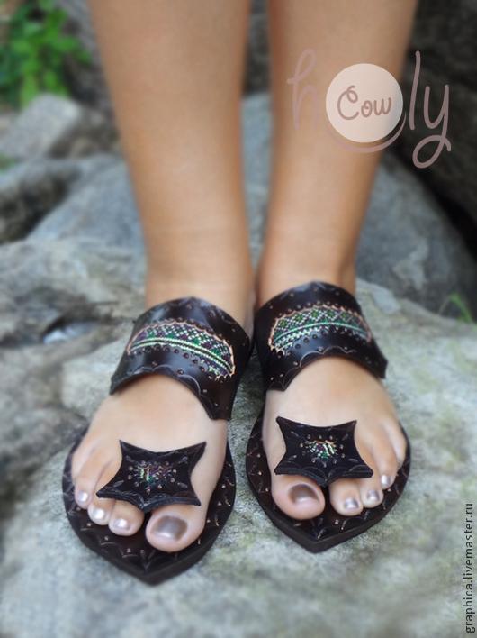 """Обувь ручной работы. Ярмарка Мастеров - ручная работа. Купить Кожаные сандалии """"Crazy Green Hmong"""". Handmade. Коричневый"""