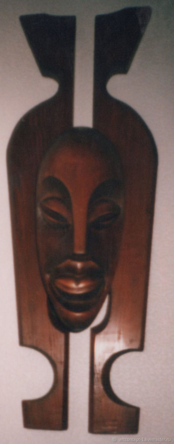 The interior of the African mask hand carved wood, Interior masks, Ryazan,  Фото №1