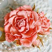 Украшения ручной работы. Ярмарка Мастеров - ручная работа Брошь Розы персиковые. Handmade.