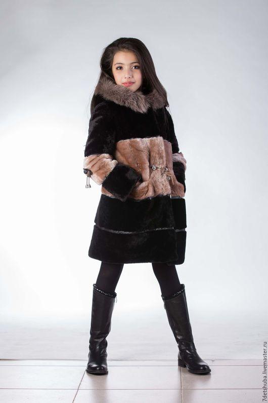 Одежда для девочек, ручной работы. Ярмарка Мастеров - ручная работа. Купить Детская мутоновая шубка. Handmade. Коричневый, натуральные шубки