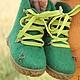 """Детская обувь ручной работы. Ярмарка Мастеров - ручная работа. Купить Валенки """"Золотой ключик"""". Handmade. Тёмно-зелёный, подошва"""