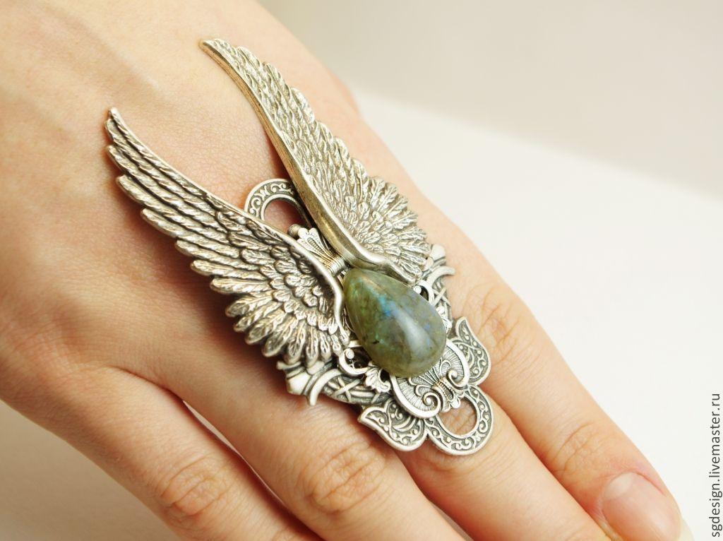 Rings handmade. Livemaster - handmade. Buy Ring 'Angel' Labradorite For Maria.Beads, wings, labradorite, carved