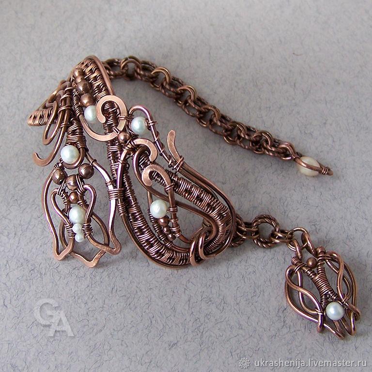 """Браслет """"Первоцвет"""" из меди с жемчугом, Bracelets, Vladimir, Фото №1"""