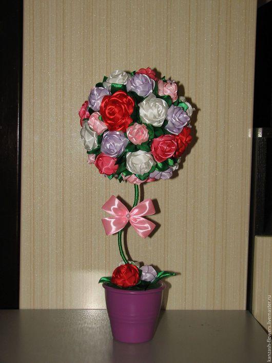 Искусственные растения ручной работы. Ярмарка Мастеров - ручная работа. Купить Топиарий из атласных лент (канзаши). Handmade. Цветы из лент