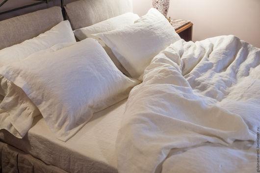 Текстиль, ковры ручной работы. Ярмарка Мастеров - ручная работа. Купить Комплект постельного белья из умягченного льна, двуспальный. Handmade.