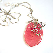 Украшения handmade. Livemaster - original item Hot Pink Fuchsia Petal Boho Pendant Eco Resin Jewelry. Handmade.