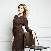 Одежда ручной работы. Ярмарка Мастеров - ручная работа Платье теплое вязаное коричневое. Handmade.