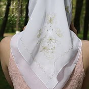 Работы для детей, handmade. Livemaster - original item Handkerchief for godmother Butterflies gold. Handmade.