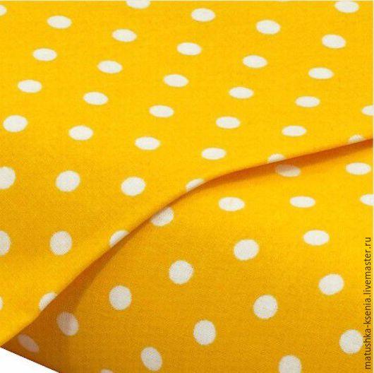 """Шитье ручной работы. Ярмарка Мастеров - ручная работа. Купить Ткань Германия """"Желтый горошек"""" Новый год для тильды пэчворк. Handmade."""