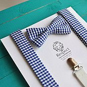 Аксессуары handmade. Livemaster - original item Blue tie plaid Suspenders blue / Set Provence. Handmade.