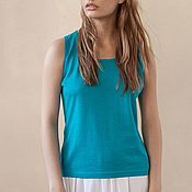 Одежда handmade. Livemaster - original item Women`s knitted t shirt azure light. Handmade.
