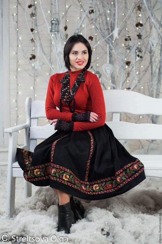 черная юбка, юбка в складку, зимняя юбка, теплая юбка, вечерняя юбка, юбка с вышивкой, шерстяная юбка