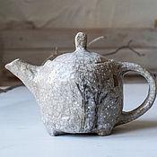 """Посуда ручной работы. Ярмарка Мастеров - ручная работа чайник из серии """"акварельная зима"""" керамика раку. Handmade."""