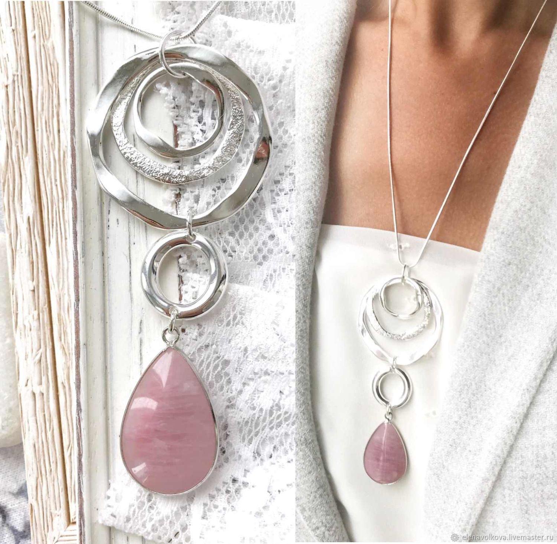 Rose Tenderness pendant with rose quartz - stylish large pendant, Necklace, Yaroslavl,  Фото №1