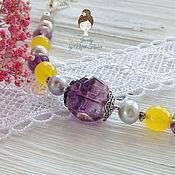 """Украшения handmade. Livemaster - original item Браслет с аметрином """"Яркая весна"""" серебро желтый фиолетовый. Handmade."""