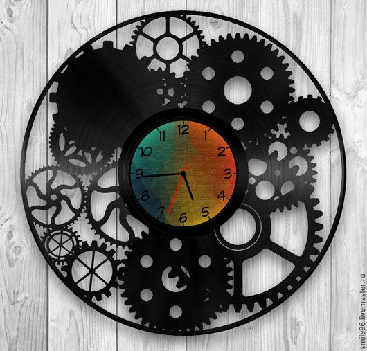 """Часы для дома ручной работы. Ярмарка Мастеров - ручная работа. Купить Часы из пластинки """"Шестеренки"""". Handmade. Шестеренки, механизм, комбинированный"""