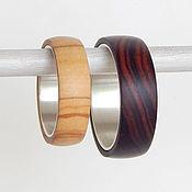 Украшения handmade. Livemaster - original item Paired rings of wood and silver.. Handmade.