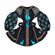 "Одежда handmade. Livemaster - original item Short dress with wedges ""The sun of Trypillya"". Handmade."