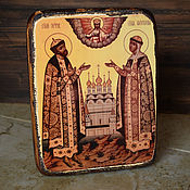 Картины и панно handmade. Livemaster - original item Wooden icon of Peter and Fevronia. Handmade.