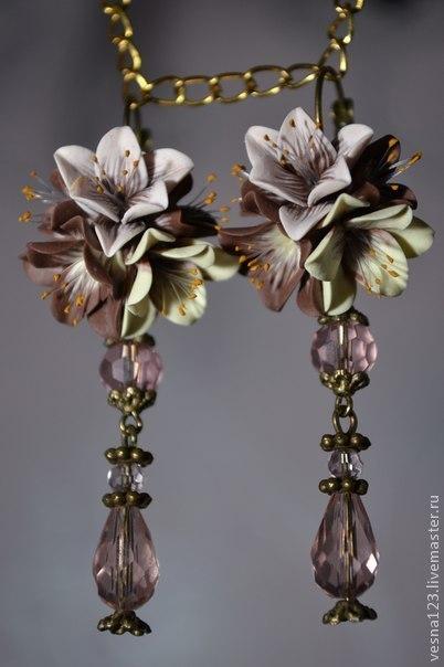 """Серьги ручной работы. Ярмарка Мастеров - ручная работа. Купить Серьги """"Прекрасные лилии. Handmade. Лилии, серьги с цветами"""