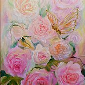 Картины и панно handmade. Livemaster - original item The picture Rose and butterfly,pink,peach,green. Handmade.