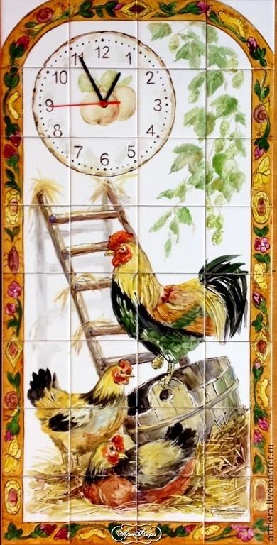 """Животные ручной работы. Ярмарка Мастеров - ручная работа. Купить Фартук  на кухню, панно из плитки """"Часы"""". Handmade. Фартук для кухни"""