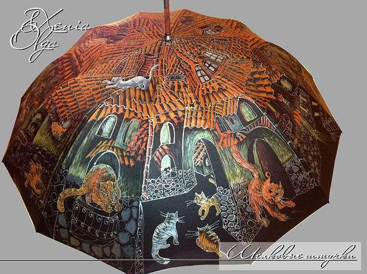 """Зонты ручной работы. Ярмарка Мастеров - ручная работа. Купить """"Кошачий Городок""""  зонт с рисунком ручная роспись в подарок. Handmade."""