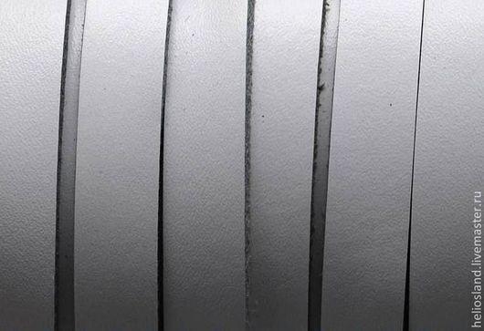 Для украшений ручной работы. Ярмарка Мастеров - ручная работа. Купить Кожаный шнур плоский 10 мм белый. Handmade.
