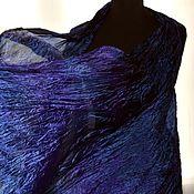 Аксессуары handmade. Livemaster - original item Scarf stole silk blue purple long female scarf stole. Handmade.