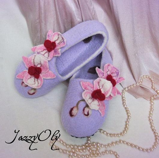 Обувь ручной работы. Ярмарка Мастеров - ручная работа. Купить Тапочки с орхидеями-2. Handmade. Валяные тапочки, тапочки из войлока