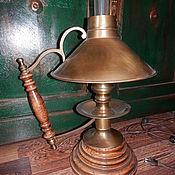 Винтаж ручной работы. Ярмарка Мастеров - ручная работа Шикарная старинная лампа дерево и латунь. Handmade.