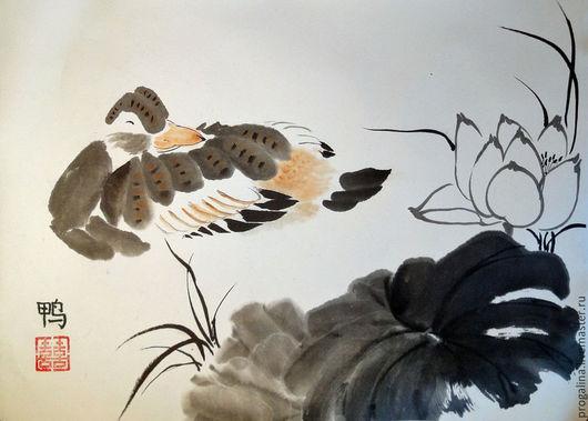 Животные ручной работы. Ярмарка Мастеров - ручная работа. Купить Колыбельная для утки. Handmade. Китайская живопись, лотос, картина с цветами