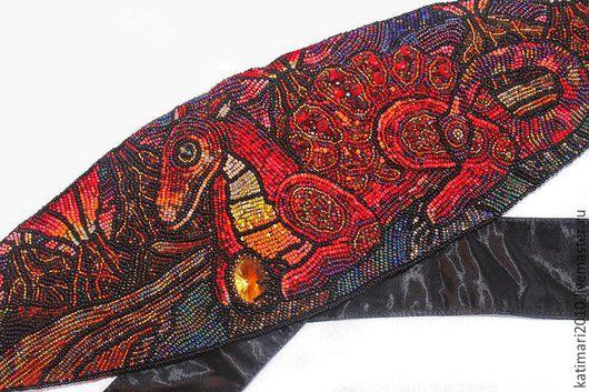 """Пояса, ремни ручной работы. Ярмарка Мастеров - ручная работа. Купить Атласный пояс-кушак """"Красный дракон-хранитель"""". Handmade."""