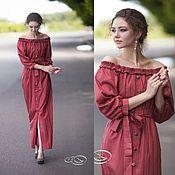 Одежда ручной работы. Ярмарка Мастеров - ручная работа Платье макси в полосочку - красный бордовый в полоски похожего оттенк. Handmade.