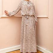 Одежда ручной работы. Ярмарка Мастеров - ручная работа Розовое длинное макси бохо платье, с длинным рукавом и карманами. Handmade.