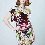 Одежда ручной работы. Ярмарка Мастеров - ручная работа Платье трикотажное бордовое с желтыми цветами, платье летнее цветы. Handmade.